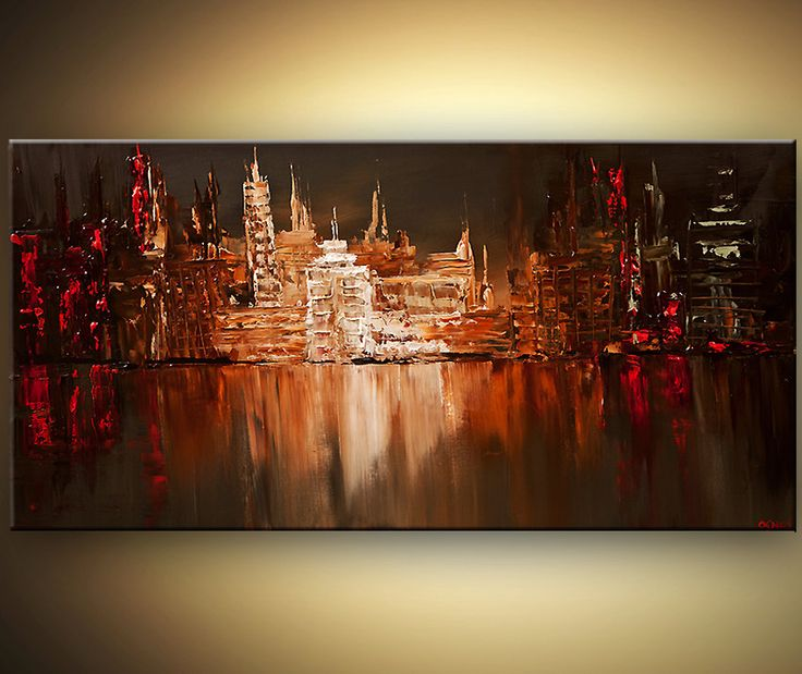 """Original modern palette knife abstract city painting Contemporary Red Olive Urban Art from OSNAT 48""""x24"""""""