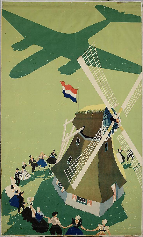 KLM ? - Vliegtuigschaduw met molen De Bevrijding, Paul Erkelens, 1945-1946