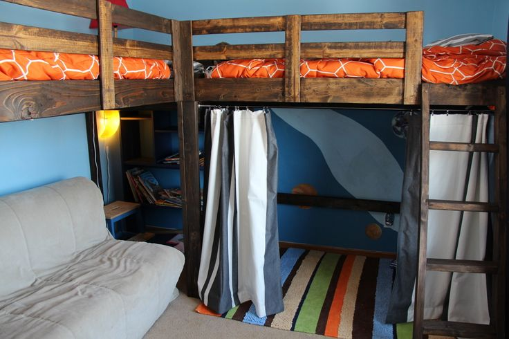 L-shaped bunk beds with incredible space-saving features such as desks, drawers and shelving
