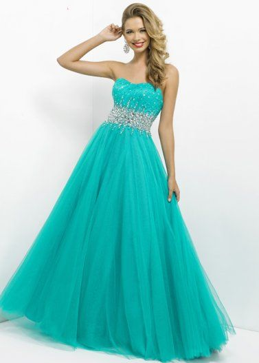 Blue Strapless Beaded Blush 5322 Long Prom Dress