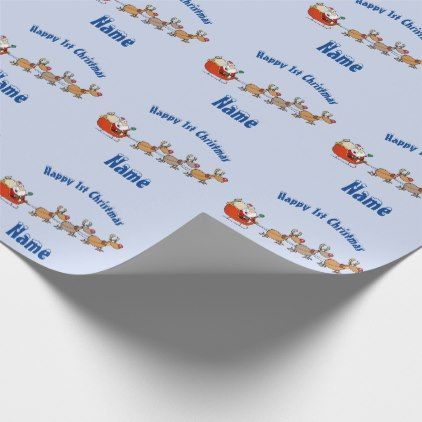 BLUE Babys 1st Christmas Giftwrap Personalised Wrapping Paper - girl gifts special unique diy gift idea