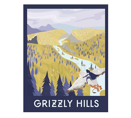 WoW print travel poster Grizzly Hills retro by TheGlassMountain