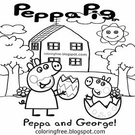 cartoon peppa pig printable easy coloring pages for kids