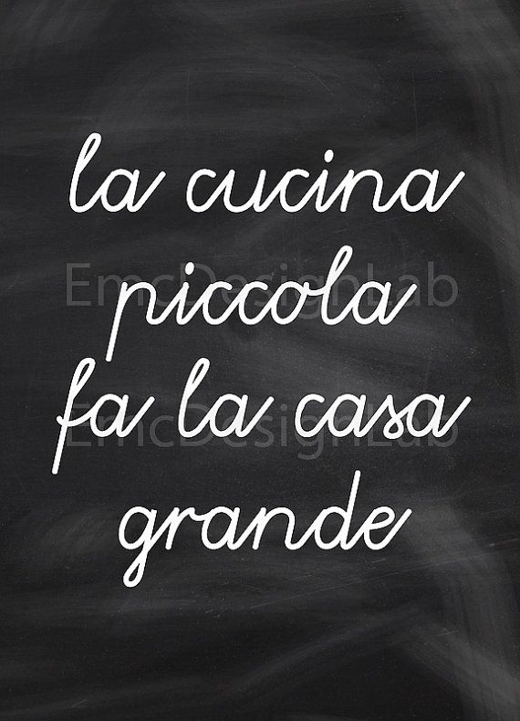 Kitchen Art Print Italian Proverb Quote Cucina by EmcDesignLab