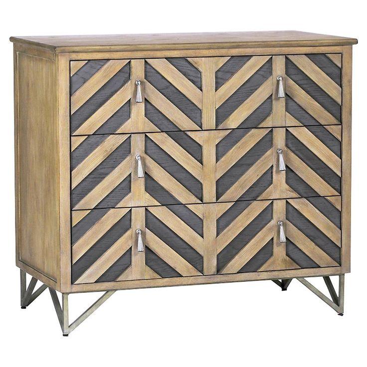 Lupton Rustic Lodge Oak Chevron Dresser 3 h X 35w X 18 deep