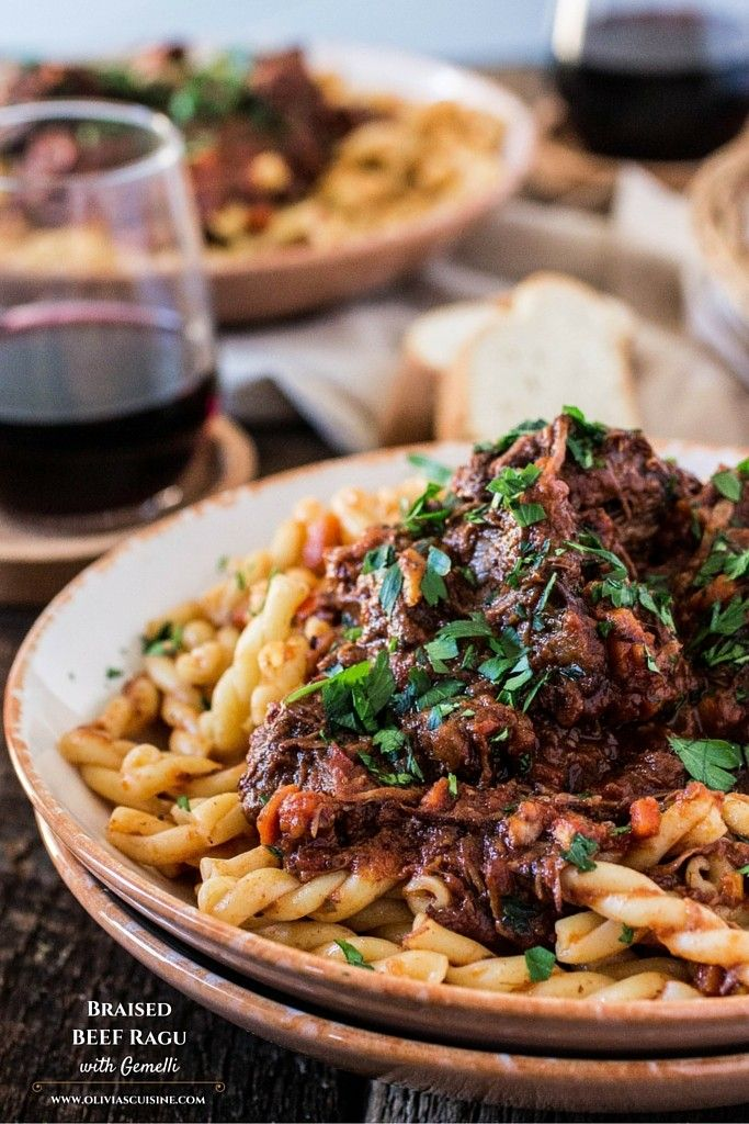 Braised Beef Ragu with Gemelli. A classic Italian dish that is perfect for the cold weather. Comforting, hearty, delicious and easy to make!