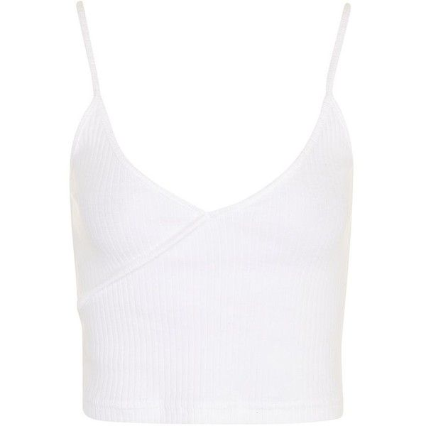 Topshop Petite Wrap Crop Top (10 AUD) ❤ liked on Polyvore featuring tops, white, wrap crop top, camisole tops, cotton camisole, strappy crop top and white wrap top