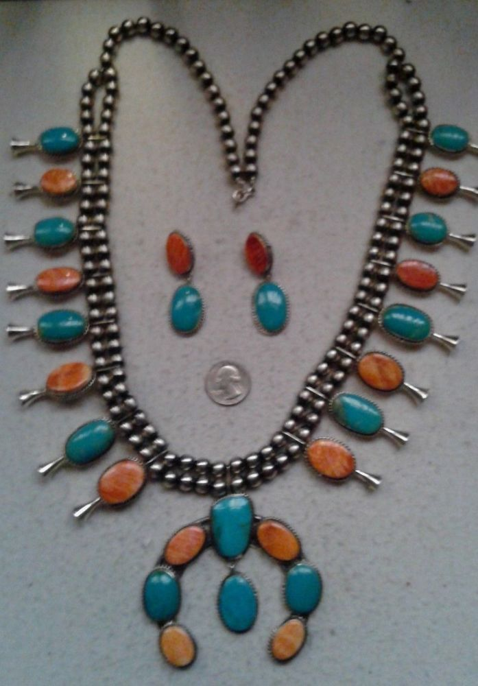 GERALDINE JAMES Squash Blossom Necklace Sterling Turquoise Spiny Oyster