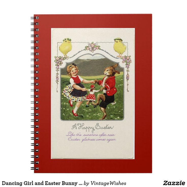 Dancing Girl and Easter Bunny Red Notebook