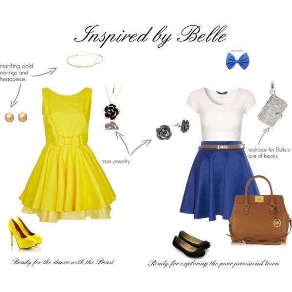 My favorite Disney movie: Beauty and the Beast! Fashion Inspired by Belle by la-petite-artist, via Polyvore