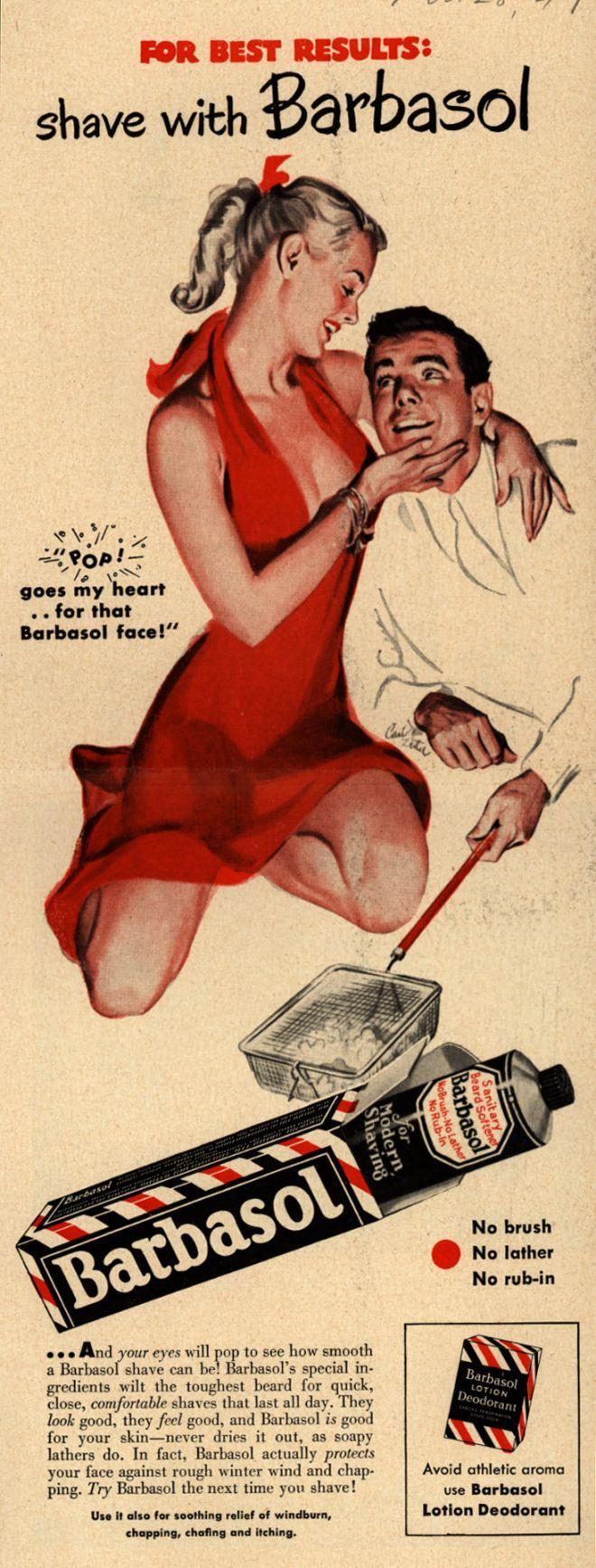 Vintage bathroom ads - Barbasol Shaving Cream 1948 Pin Up Girl What Mad Men Art The Vintage Advertisement Art Collection