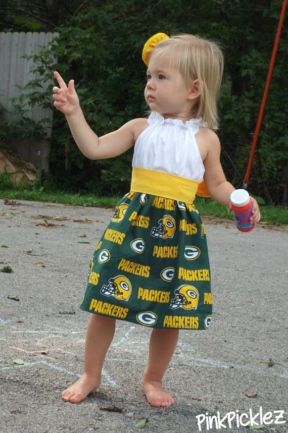 Green Bay Packers flutter sleeve peasant dress with a golden sash and rosette clip or team of choice