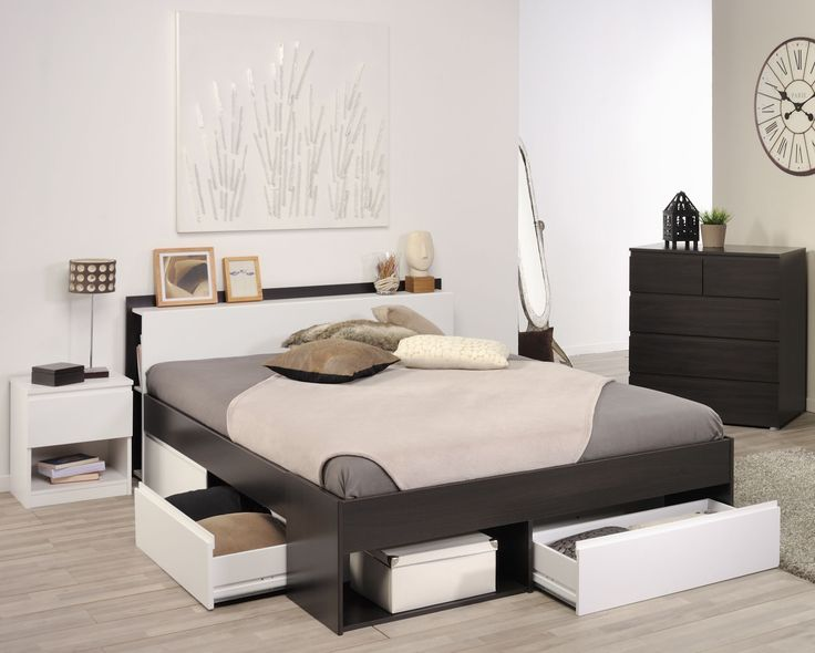 Schlafzimmer mit Bett 90 x 200 cm Kiefer weiss lackiert Jetzt