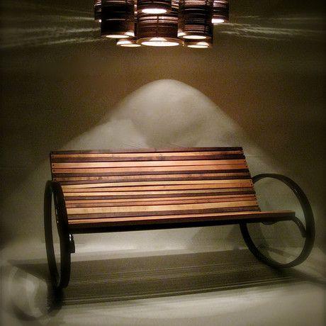 Pant Rocking Bench (Steel w/ Pine) by Shiner International - $1400 !!