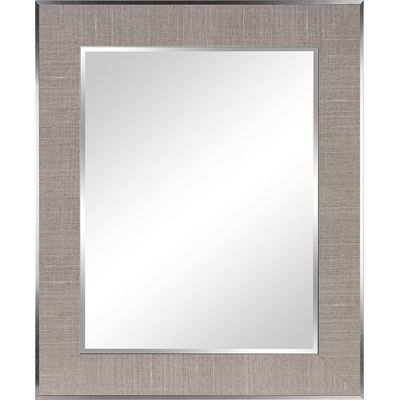 Columbia Frame 27.5-in x 33.5-in Light Grey Beveled Rectangle Framed Transitional Wall Mirror