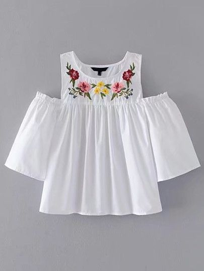 Open Shoulder Flower Embroidery Top