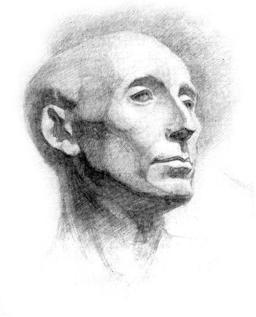 5. Законченный рисунок гипсовой головы