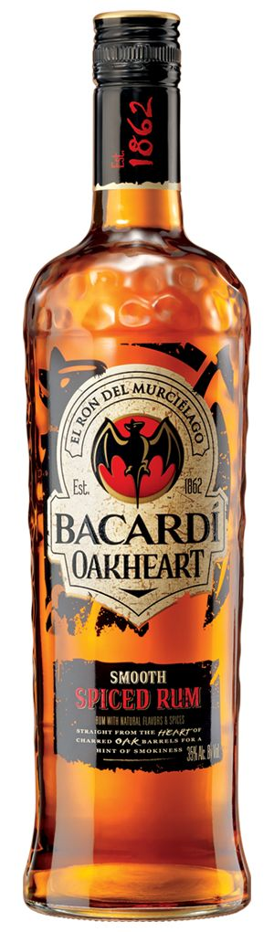 BACARDI OAKHEART -    Smooth Spiced Rum from the heart of charred oak barrels for a hint of smokiness.