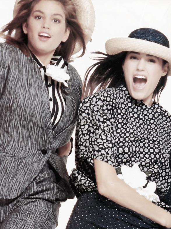 Enrico Coveri Spring/Summer 1987 (Ad Campaign) Models: Cindy Crawford & Yasmin Le Bon Photographer: Bill King
