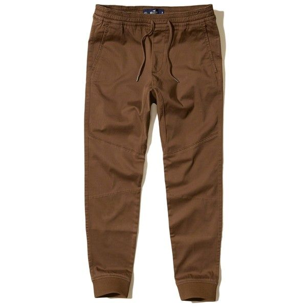 Hollister Twill Jogger Pants ($50) ❤ liked on Polyvore featuring men's fashion, men's clothing, men's activewear, men's activewear pants and brown