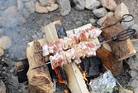 campfire bacon on a skewer