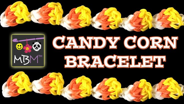 NEW Rainbow Loom Band Candy Corn Bracelet tutorial by Made By Mommy.