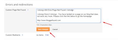 404 Error Page setting for Blogger Blogs