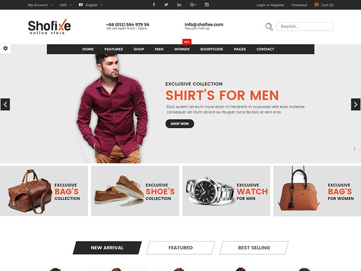 Shofixe – eCommerce Fashion Template is a clean and elegant design – suitable for selling clothing, fashion, high fashion, men fashion, women fashion, kids, shoes, kids….. It has a fully responsive width adjusts automatically to any screen size or resolution. More details:https://devitems.com/item/shofixe-ecommerce-fashion-template/
