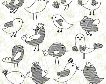 Schattige vogel silhouetten Clipart illustraties door PinkPueblo