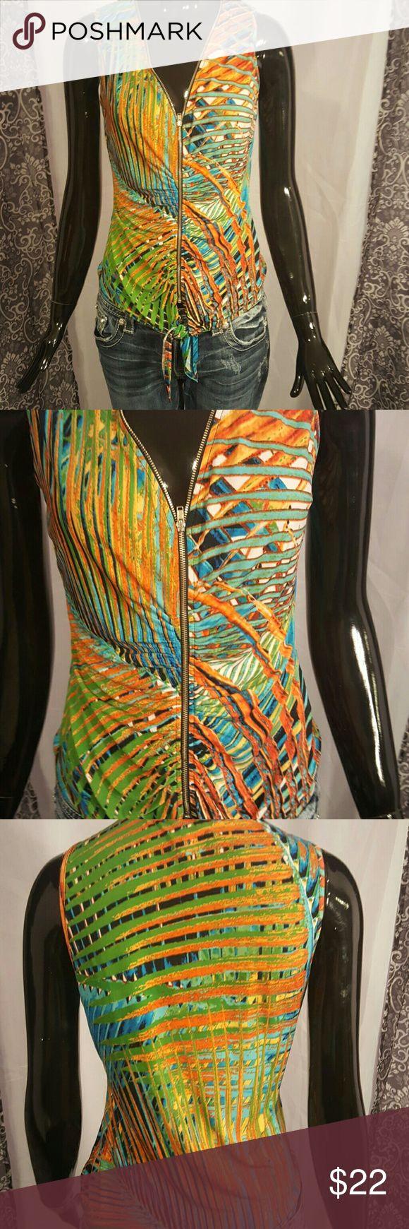 🍹☉New Tropical zip top🌺☉ Silky zip front tie waist top cool for summer venus Tops Tank Tops