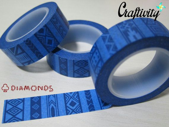Royal Blue washi tape with diamonds and geometry. Made of good quality rice paper. 15mm by 10m.