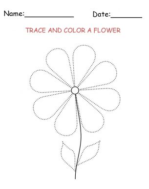 tracing and coloring flower printable activities your kids are sure to love this fun free - Printable Activity For Kids