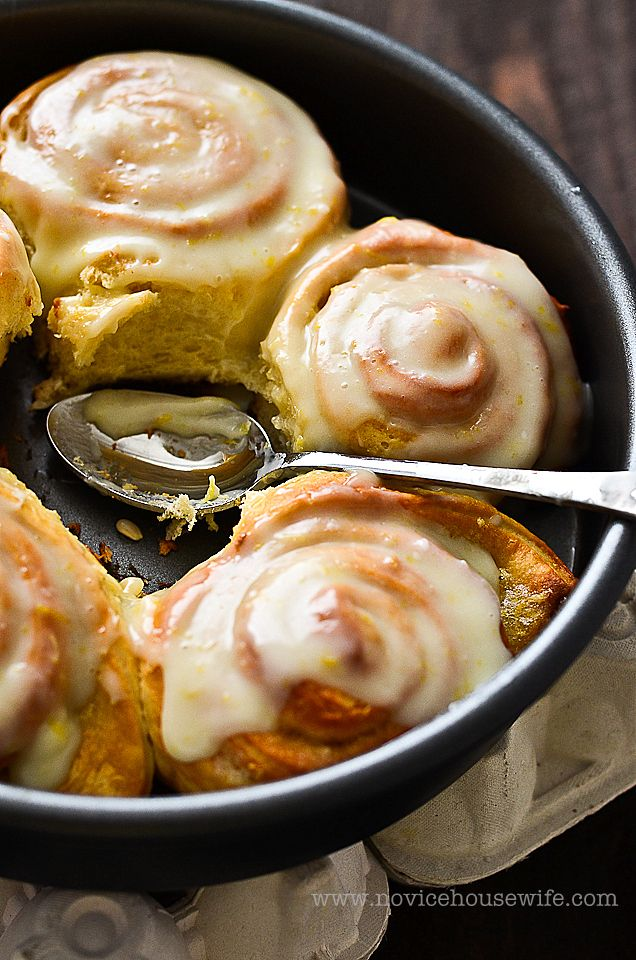 sticky lemon rolls with lemon cream cheese glaze. They are ...