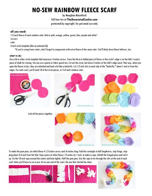printable no-sew rainbow fleece scarf instructions.....holiday colors for ANY holiday would work!  : )
