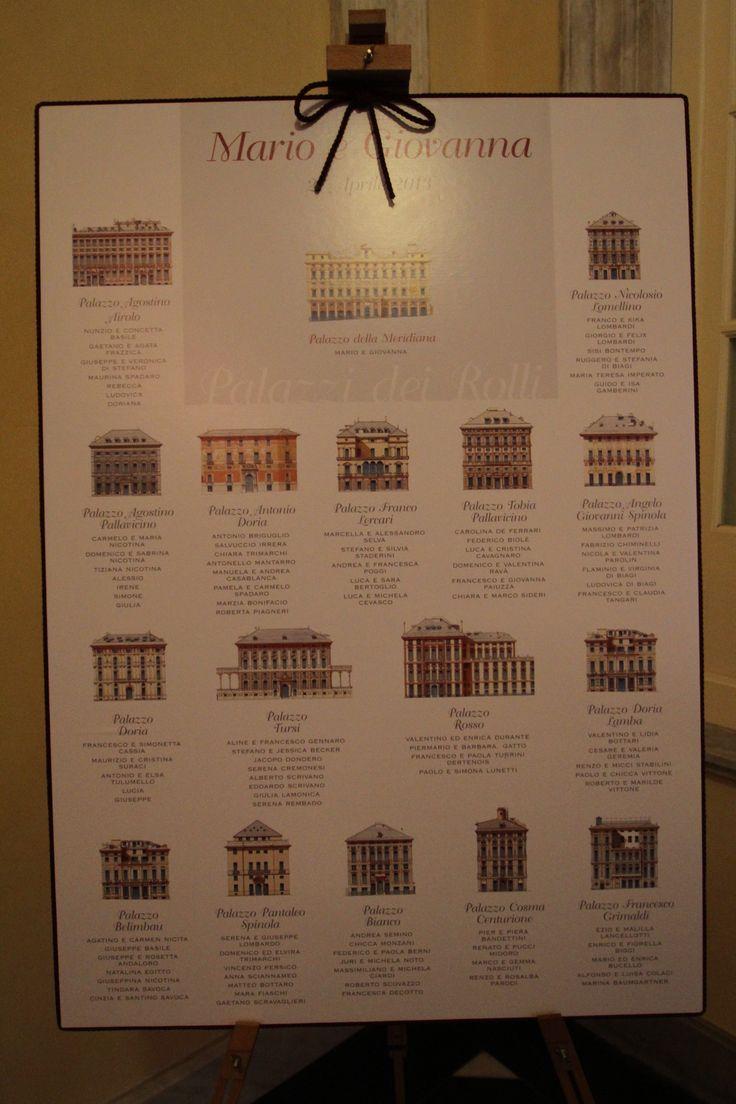 Tableau de mariage a tema Palazzi dei Rolli di Genova.