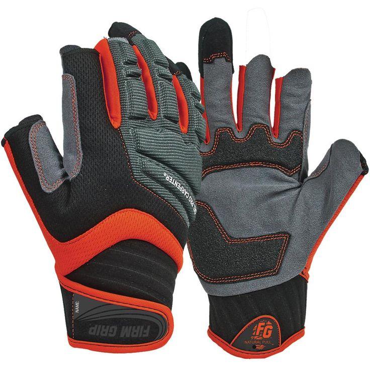 X-Large Gel Pro Carpenter Work Gloves (6-Pairs), Black/Grey/Red