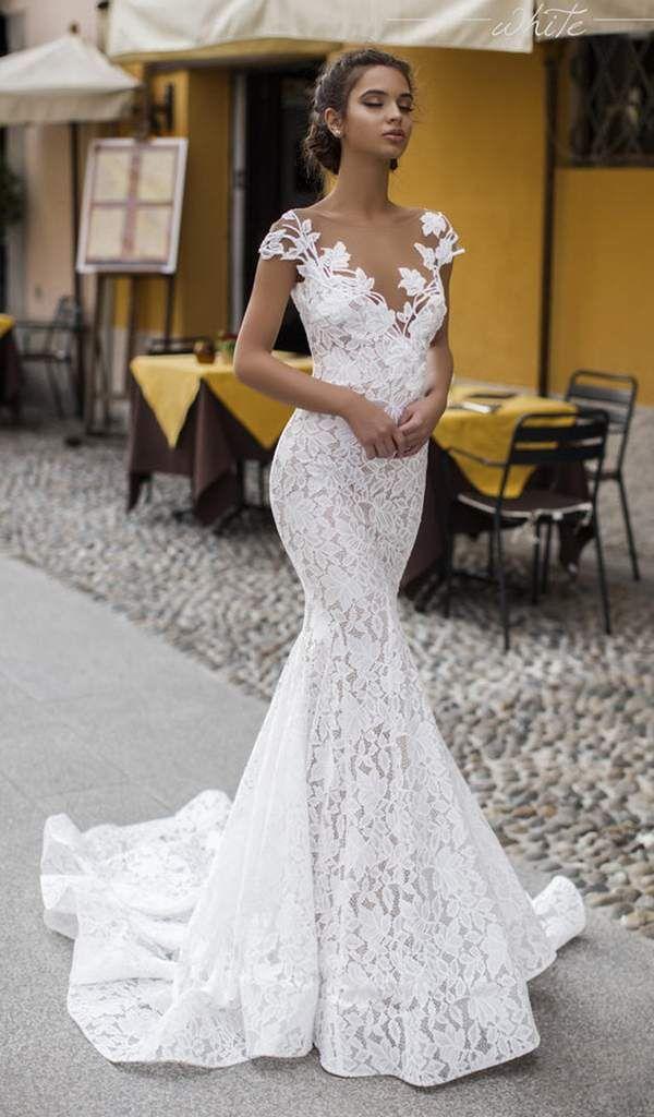 Tarik Ediz 93626 Lace Illusion Neck Mermaid Dress With Train Couture Candy Lace Mermaid Wedding Dress Wedding Dress Necklines Gorgeous Wedding Dress