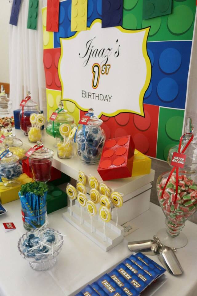 Lego party by The Lolly & Dessert Bar Company red green blue and yellow edition.