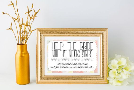 Bridal Shower Sign Wedding Stress Fill out by LivingEverAfter