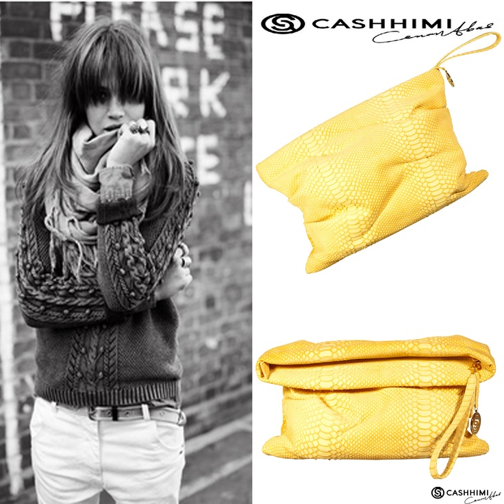 Cashhimi Yellow LE DOUX Leather Clutch