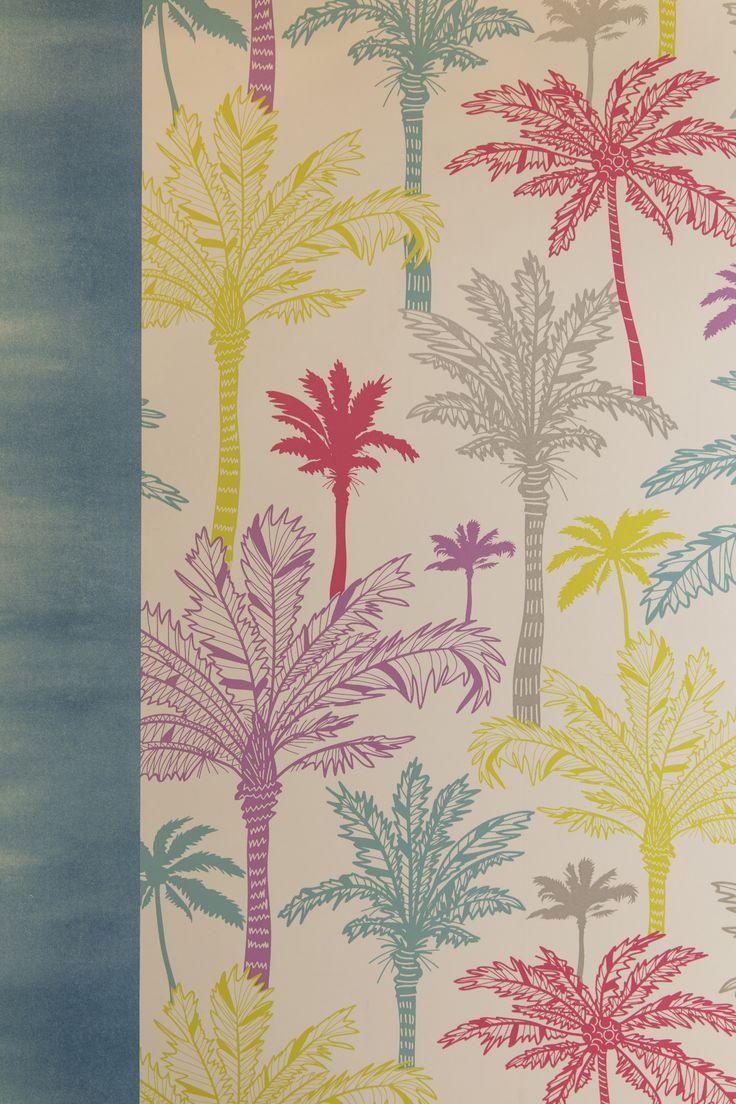 Un papier peint color de rose de jaune de bleu pour un - Toner leroy merlin ...
