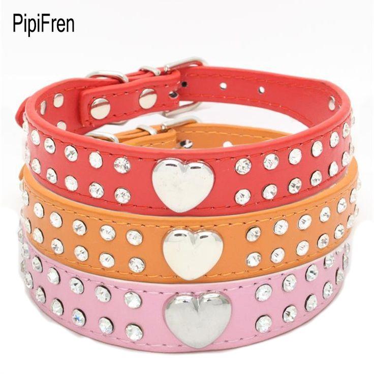 PipiFren Cats Collars Dogs heart Rhinestone For Pet Accessories Cats Necklace Puppy kat halsband katzenhalsband arnes para gatos