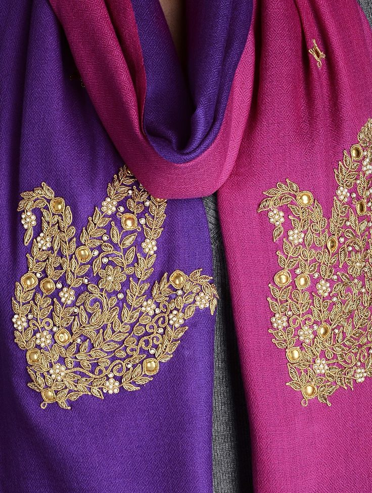 Buy Pink-Purple Gota Patti Cashmere Wool Stole Online at Jaypore.com