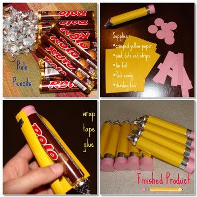 Pencils Need: Rolos, crimped/edged yellow paper, pink dots and stipes, tin foil, hershey kiss, tape & glue