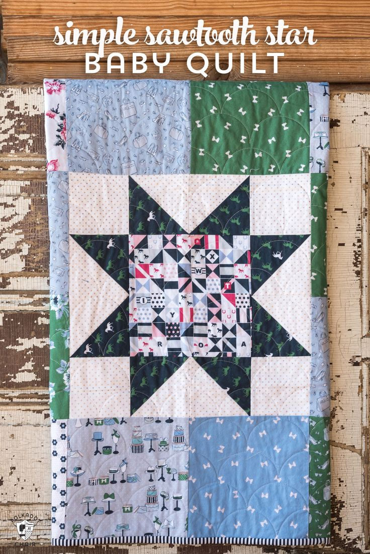 Free pattern for a Simple Sawtooth Star Baby Quilt - so fast to stitch up - grea...