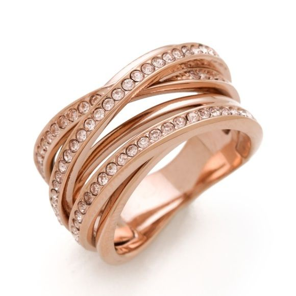 Michael Kors Rose Gold Stacked Ring Size 8, gently worn, rose gold crystals and band. Gorgeous! Comes with MK brown pouch. MICHAEL Michael Kors Jewelry Rings