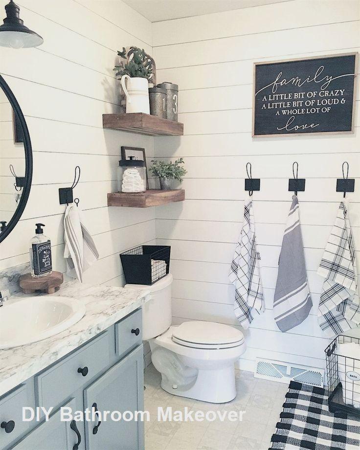 New Diy Bathroom Makeover Ideas In 2020 Diy Bathroom Makeover Farmhouse Bathroom Decor Bathrooms Remodel
