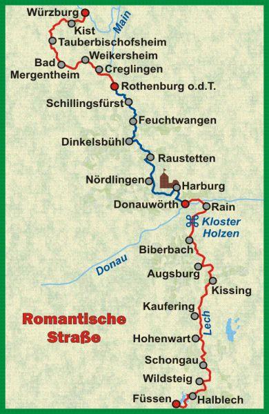 Karte Romantische Strasse