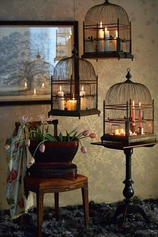 What a cute idea. I have cages hanging on the patio with plants in them.