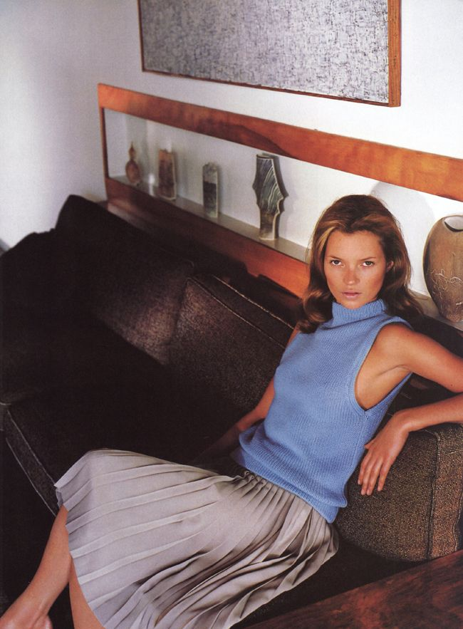 "Kate Moss photographed by Mario Testino for Vogue US, March 1998. Styled by Camilla Nickerson. ""School Ties"""